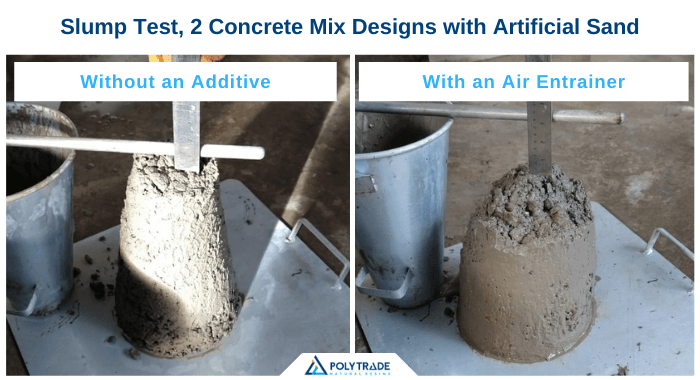 The image is a composition of two photos side by side. On the left, there is a slump test with a mixture of concrete with artificial sand and without an additive. The image on the right, on the other hand, contains a slump test of a mixture of concrete with artificial sand and an air entrainer. It is observed that the mixture on the right has a better slump and cohesion.